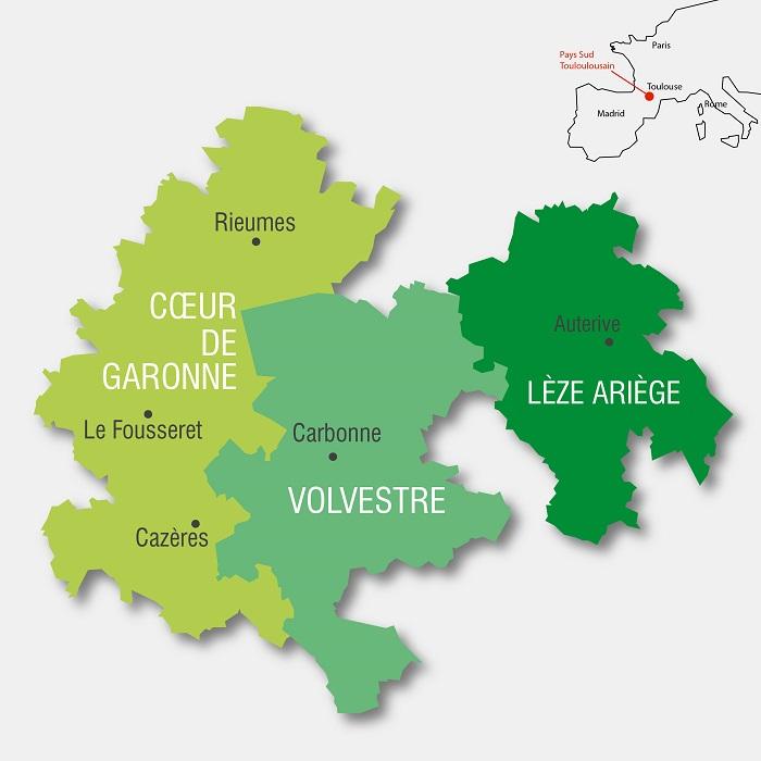 Carte du Pays Sud Toulousain